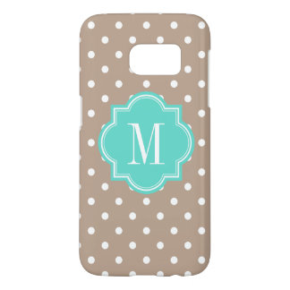 Taupe Polka Dot with Turquoise Monogram Samsung Galaxy S7 Case