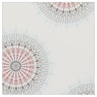 Taupe Red Blue White Mandala Fabric