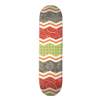 Taupe Red Green and Orange Cute Country Skateboard Deck