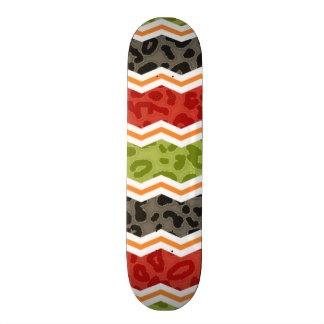 Taupe, Red, Green, and Orange Leopard Custom Skate Board