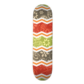 Taupe Red Green and Orange Paisley Chevron Skateboard