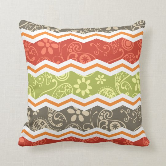 Taupe, Red, Green, and Orange Paisley Chevron Throw Pillow