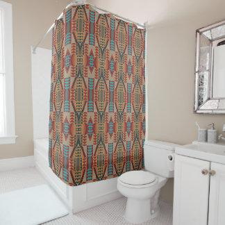 Taupe Red Orange Teal Tribal Mosaic Pattern