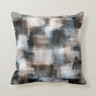 Taupe Slate Brushstrokes Abstract Throw Pillow