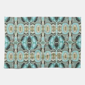 Taupe Teal Aqua Turquoise Hip Orient Bali Art Kitchen Towel