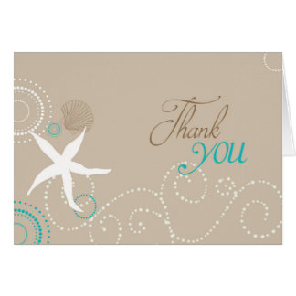 Taupe Teal White Beach Wedding Thank You Note Card