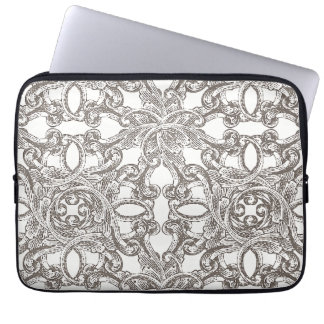 Taupe Vintage Damask Pattern Laptop Sleeve
