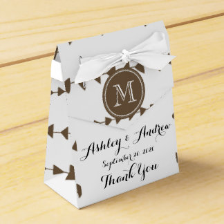 Taupe White Aztec Arrows Monogram Wedding Favor Box