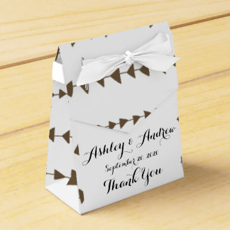 Taupe White Aztec Arrows Pattern Party Favor Boxes