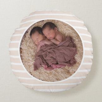 Taupe & White Stripes Circle Family Photo & Name Round Pillow