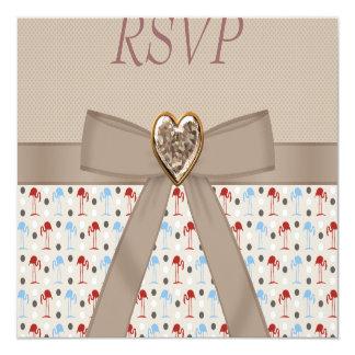 Taupe Wonderland Flamingos RSVP Wedding Card