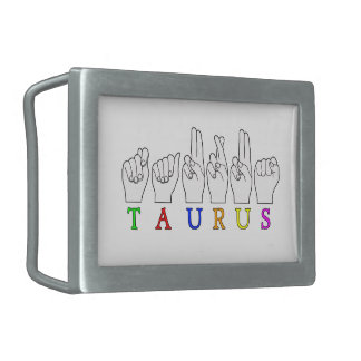 TAURUS ASL FINGERSPELLED NAME ZODIAC SIGN BELT BUCKLE