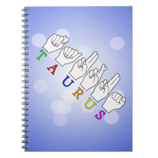 TAURUS ASL FINGERSPELLED NAME ZODIAC SIGN NOTEBOOK