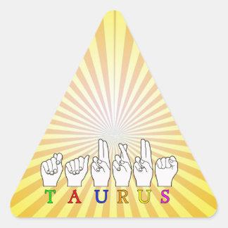 TAURUS ASL FINGERSPELLED NAME ZODIAC SIGN TRIANGLE STICKER