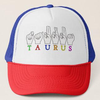 TAURUS ASL FINGERSPELLED NAME ZODIAC SIGN TRUCKER HAT