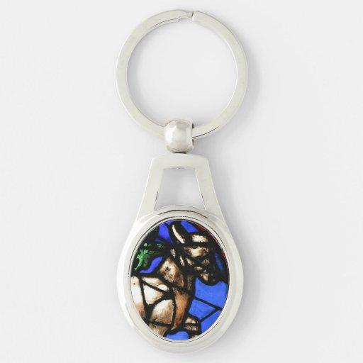 Taurus Astrology Stained Glass Windows Keychain