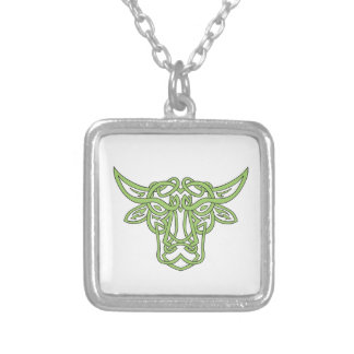 Taurus Bull Celtic Knot Silver Plated Necklace