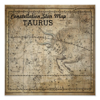 Taurus Bull Constellation Star Map May Poster
