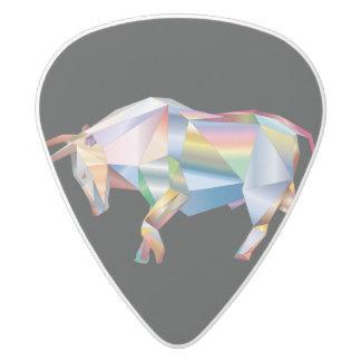 Taurus Bull Rainbow Prism White Delrin Guitar Pick