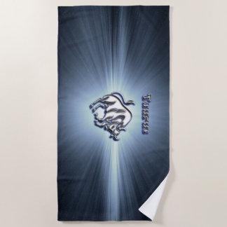 Taurus chrome symbol beach towel