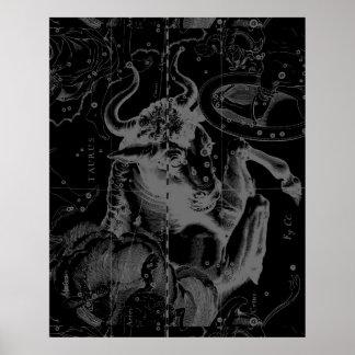 Taurus Constellation Hevelius 1690 Decor Poster