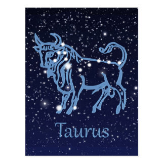 Taurus Constellation & Zodiac Sign with Stars Postcard