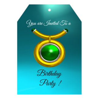 TAURUS,GOLD,GREEN ,AQUA BLUE ZODIAC BIRTHDAY PARTY CARD