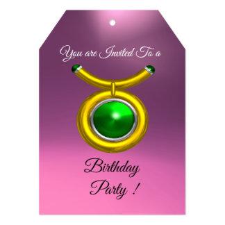 TAURUS,GOLD,GREEN PINK LILAC ZODIAC BIRTHDAY PARTY CARD