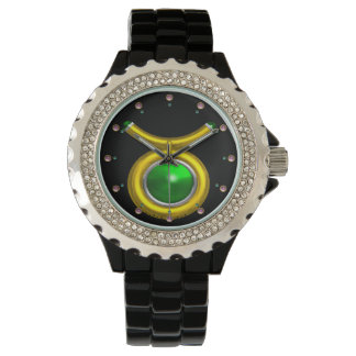 TAURUS GOLD ZODIAC BIRTHDAY JEWEL,Green ,Black Wrist Watches