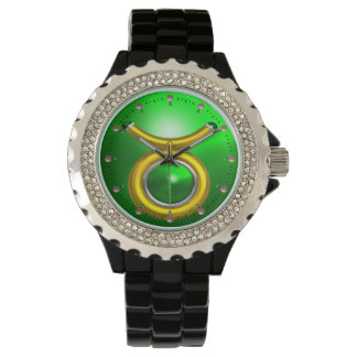 TAURUS GOLD ZODIAC BIRTHDAY JEWEL,Green Emerald Watches