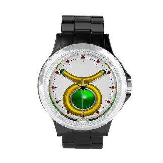 TAURUS GOLD ZODIAC BIRTHDAY JEWEL,Green ,White Wristwatches