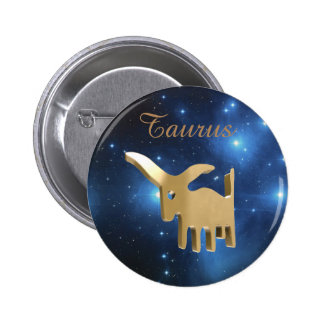 Taurus golden sign 2 inch round button