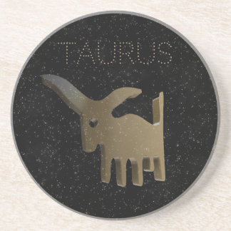 Taurus golden sign coaster