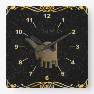 Taurus golden sign square wall clock
