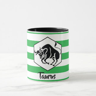 Taurus Horoscope Silhouette on Green Stripe Mug