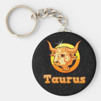 Taurus illustration basic round button keychain