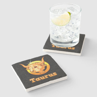 Taurus illustration stone coaster
