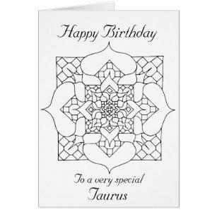 Taurus happy birthday cards photocards invitations more taurus mandala color your own birthday card bookmarktalkfo Choice Image