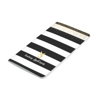 Taurus Personalized Name Black Stripes Notebook