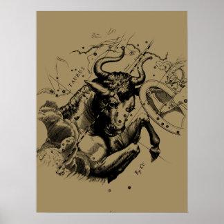 Taurus Sign Constellation Hevelius circa 1690 Poster