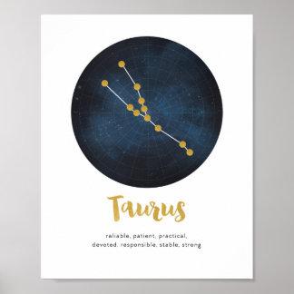 Taurus star sign print