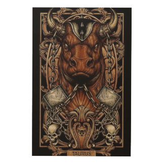 Taurus The Bull. Wood Wall Art