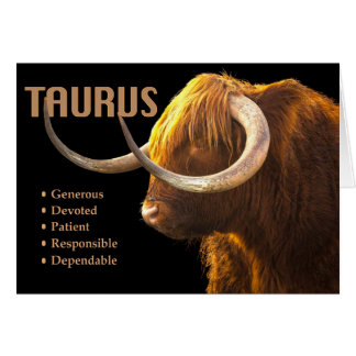 Taurus the Bull Zodiac Card with Characteristics