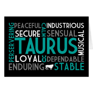 Taurus Word Collage Card