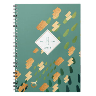 Taurus Zodiac Abstract Green & Gold Notebook