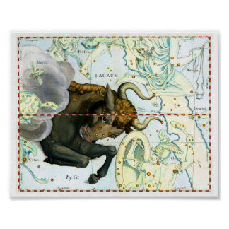 Taurus Zodiac Antique Star Chart Poster