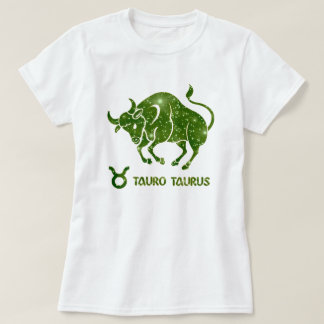 Taurus Zodiac Emerald Stars Modern T-Shirt