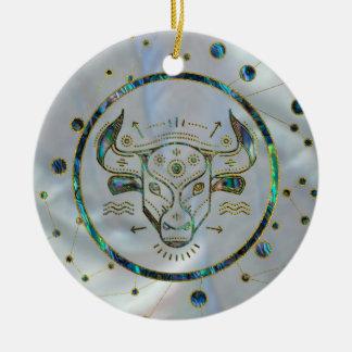 Taurus Zodiac Gold Abalone on Constellation Ceramic Ornament