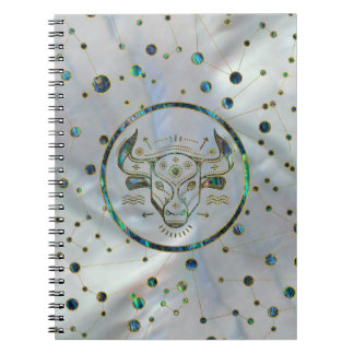Taurus Zodiac Gold Abalone on Constellation Notebook
