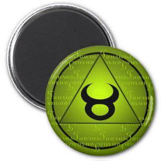 Taurus Zodiac Green Triangle Curly Script Magnet